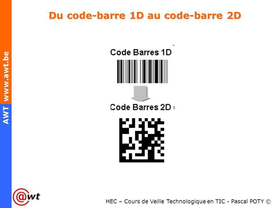 HEC – Cours de Veille Technologique en TIC - Pascal POTY © AWT www.awt.be Du code-barre 1D au code-barre 2D