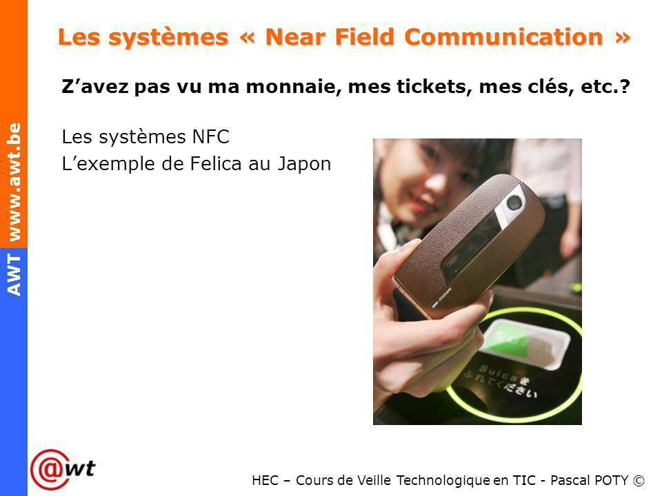 HEC – Cours de Veille Technologique en TIC - Pascal POTY © AWT www.awt.be Les systèmes « Near Field Communication » Zavez pas vu ma monnaie, mes ticke