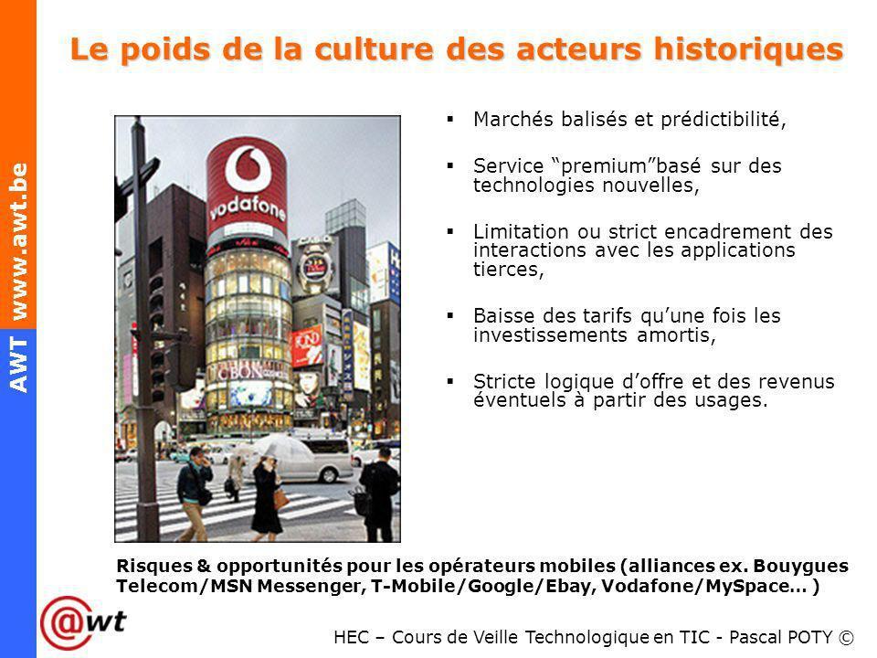 HEC – Cours de Veille Technologique en TIC - Pascal POTY © AWT www.awt.be Le poids de la culture des acteurs historiques Marchés balisés et prédictibi