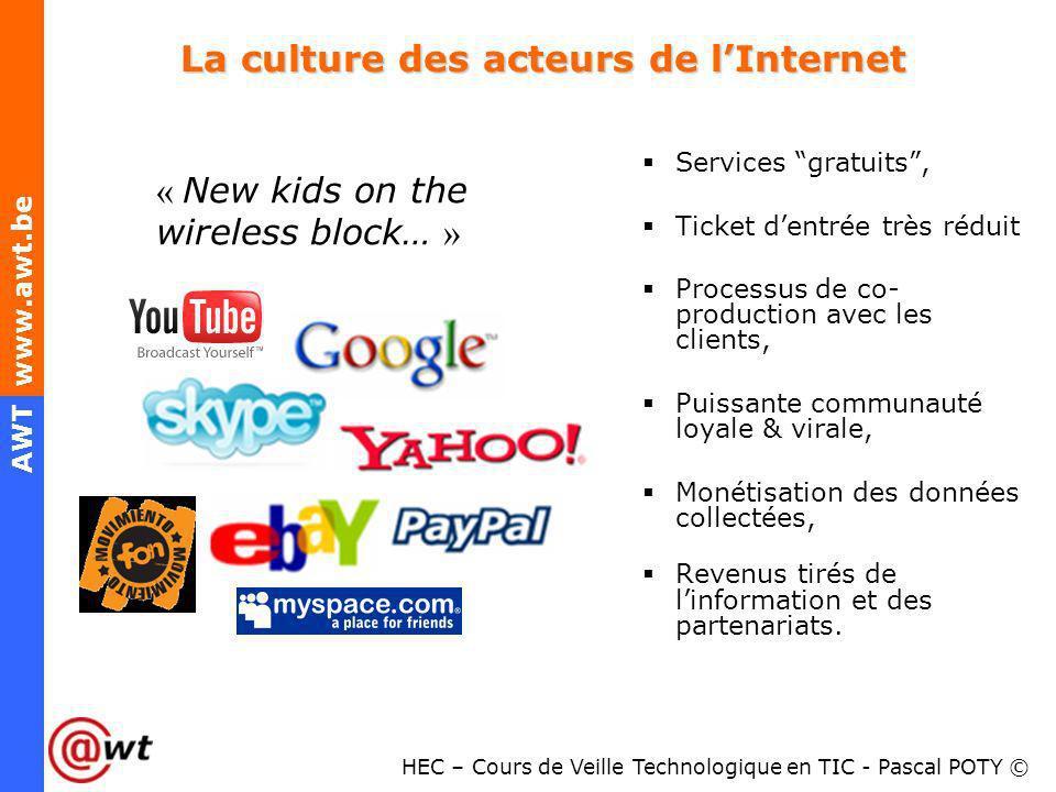 HEC – Cours de Veille Technologique en TIC - Pascal POTY © AWT www.awt.be La culture des acteurs de lInternet La culture des acteurs de lInternet Serv