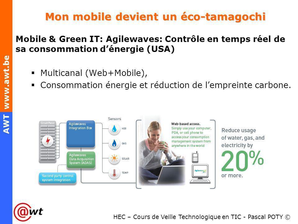 HEC – Cours de Veille Technologique en TIC - Pascal POTY © AWT www.awt.be Mon mobile devient un éco-tamagochi Mobile & Green IT: Agilewaves: Contrôle