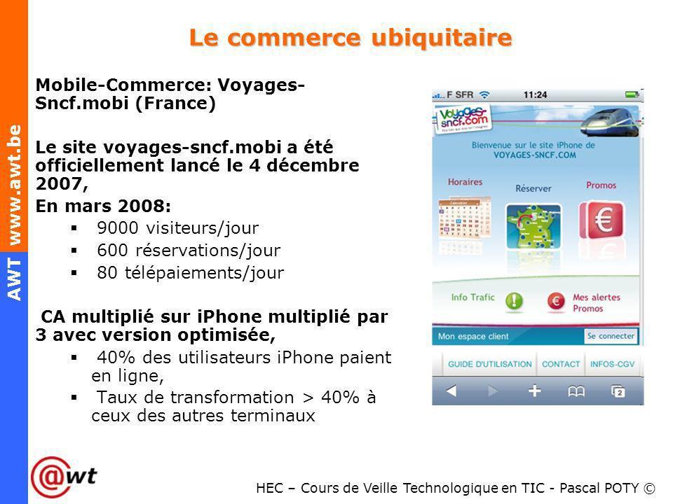 HEC – Cours de Veille Technologique en TIC - Pascal POTY © AWT www.awt.be Le commerce ubiquitaire Mobile-Commerce: Voyages- Sncf.mobi (France) Le site