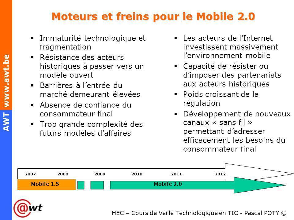 HEC – Cours de Veille Technologique en TIC - Pascal POTY © AWT www.awt.be Moteurs et freins pour le Mobile 2.0 Immaturité technologique et fragmentati