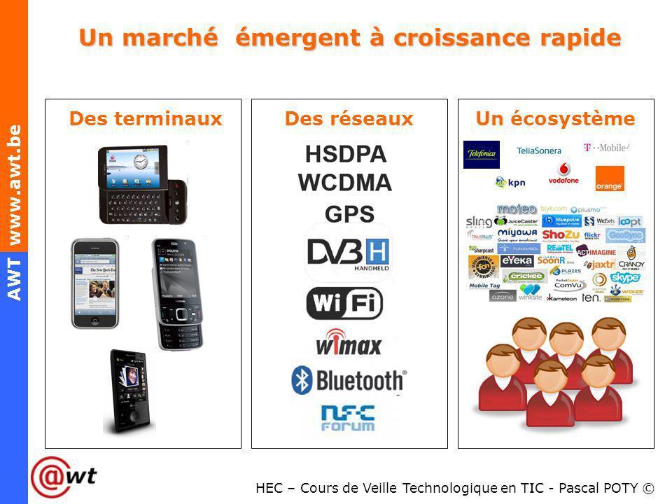 HEC – Cours de Veille Technologique en TIC - Pascal POTY © AWT www.awt.be Un marché émergent à croissance rapide Des terminauxDes réseauxUn écosystème