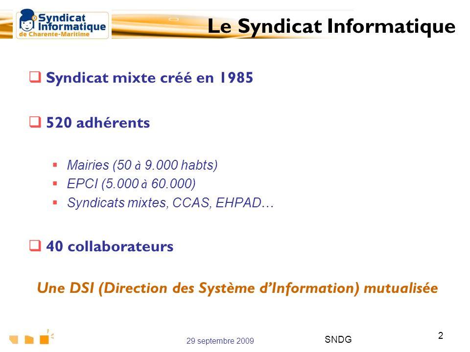 29 septembre 2009 SNDG 2 Syndicat mixte créé en 1985 520 adhérents Mairies (50 à 9.000 habts) EPCI (5.000 à 60.000) Syndicats mixtes, CCAS, EHPAD … 40