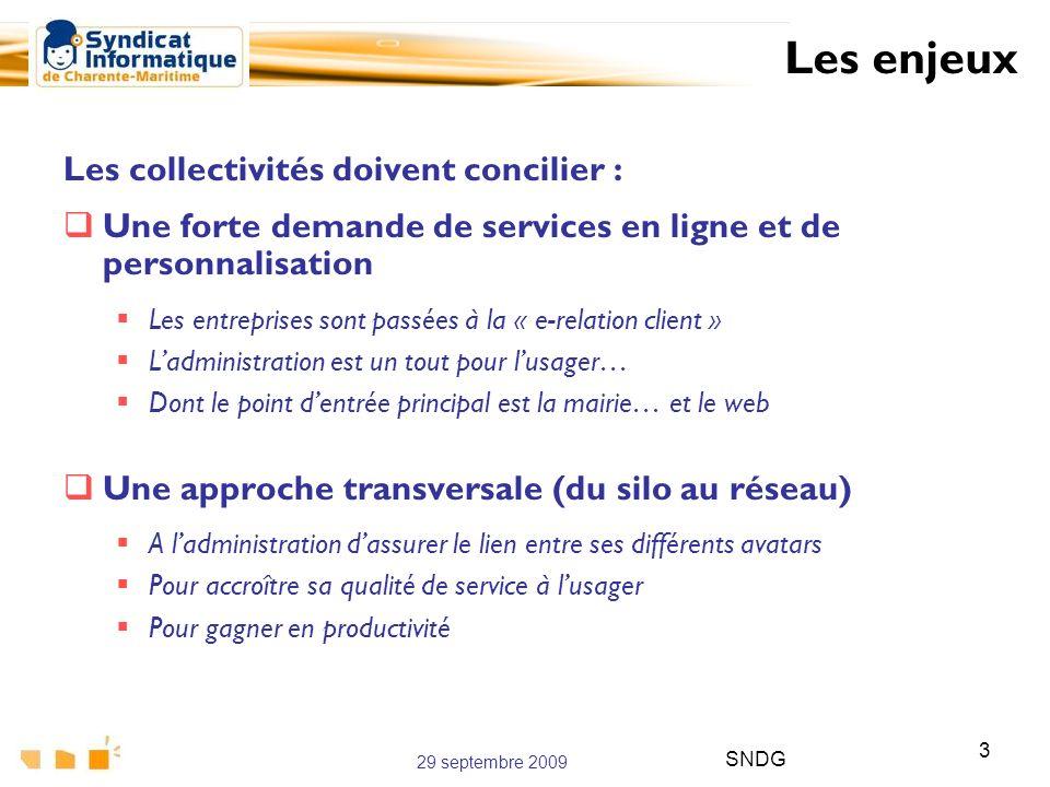 29 septembre 2009 SNDG 3 Les collectivités doivent concilier : Une forte demande de services en ligne et de personnalisation Les entreprises sont pass