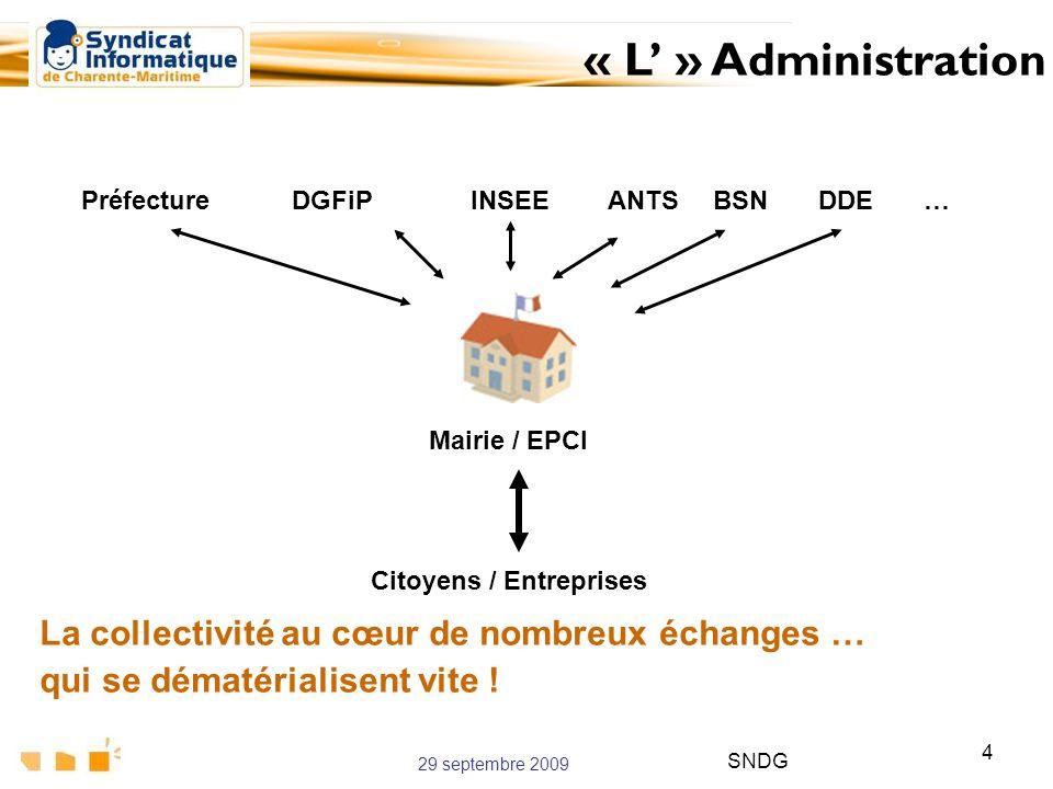29 septembre 2009 SNDG 4 La collectivité au cœur de nombreux échanges … qui se dématérialisent vite ! « L » Administration Citoyens / Entreprises Préf