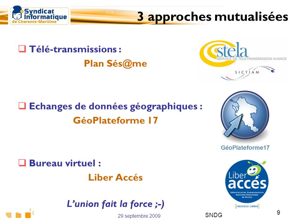 29 septembre 2009 SNDG 9 Télé-transmissions : Plan Sés@me Echanges de données géographiques : GéoPlateforme 17 Bureau virtuel : Liber Accés Lunion fai