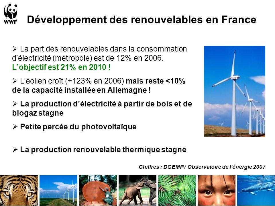 Développement des renouvelables en France La part des renouvelables dans la consommation délectricité (métropole) est de 12% en 2006.