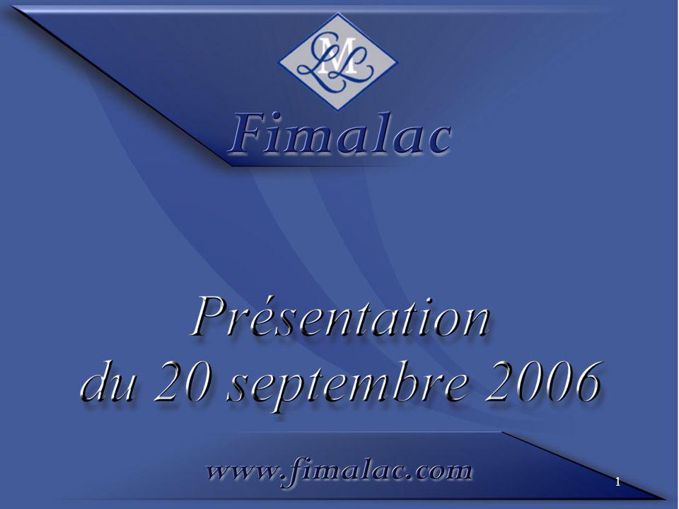 Trésorerie / endettement net par société (en M) 31/12/200530/06/2006 31/08/2006 Estimé Fitch Group - 226 - 296 - 276 Société-mère - 186 525418 Trésorerie nette - Fimalac - 412 229142