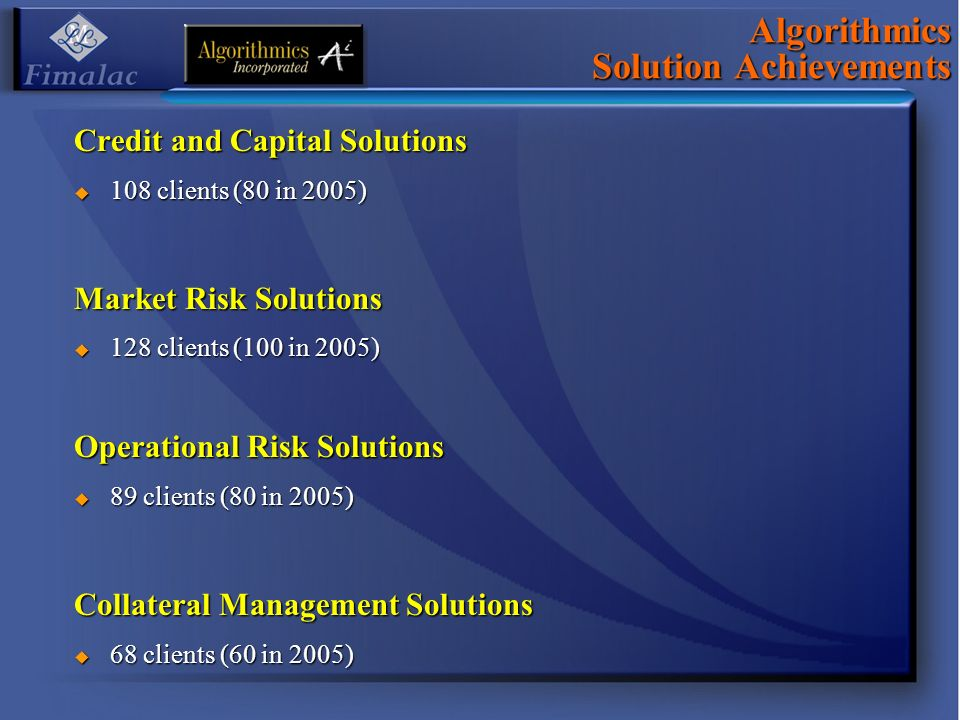 Credit and Capital Solutions 108 clients (80 in 2005) 108 clients (80 in 2005) Market Risk Solutions 128 clients (100 in 2005) 128 clients (100 in 2005) Operational Risk Solutions 89 clients (80 in 2005) 89 clients (80 in 2005) Collateral Management Solutions 68 clients (60 in 2005) 68 clients (60 in 2005) Algorithmics Solution Achievements