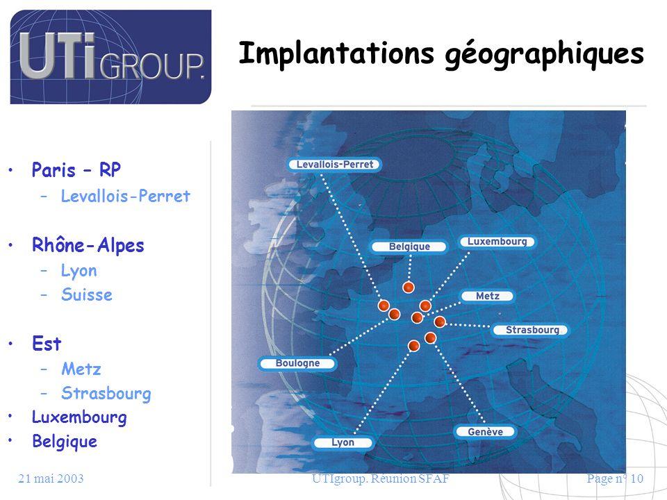 21 mai 2003UTIgroup. Réunion SFAFPage n° 10 Implantations géographiques Paris – RP –Levallois-Perret Rhône-Alpes –Lyon –Suisse Est –Metz –Strasbourg L