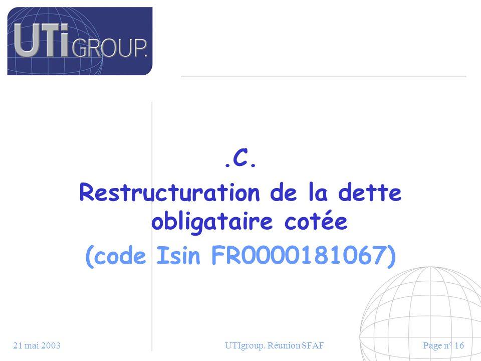 21 mai 2003UTIgroup. Réunion SFAFPage n° 16.C. Restructuration de la dette obligataire cotée (code Isin FR0000181067)