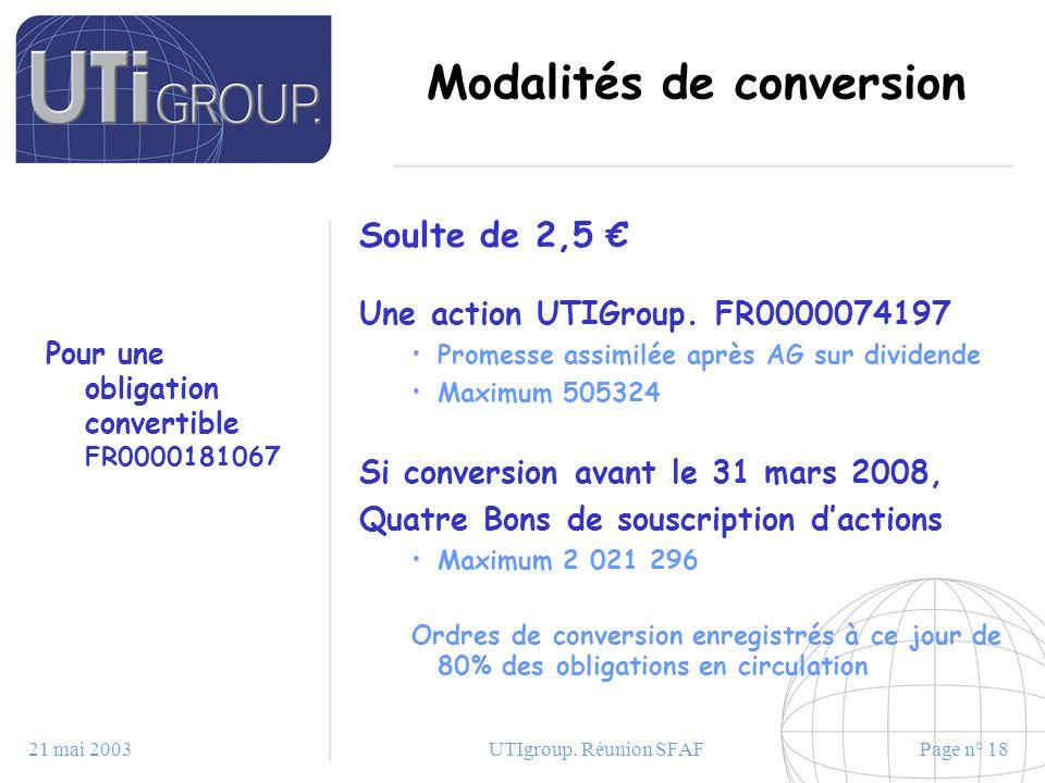 21 mai 2003UTIgroup. Réunion SFAFPage n° 18 Modalités de conversion Pour une obligation convertible FR0000181067 Soulte de 2,5 Une action UTIGroup. FR