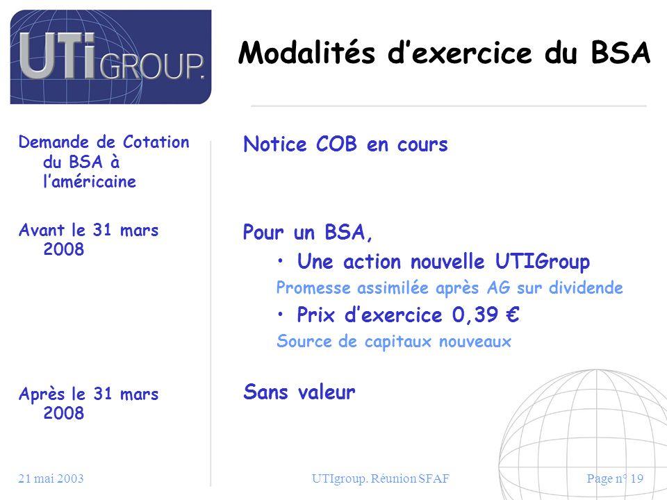 21 mai 2003UTIgroup. Réunion SFAFPage n° 19 Modalités dexercice du BSA Demande de Cotation du BSA à laméricaine Avant le 31 mars 2008 Après le 31 mars