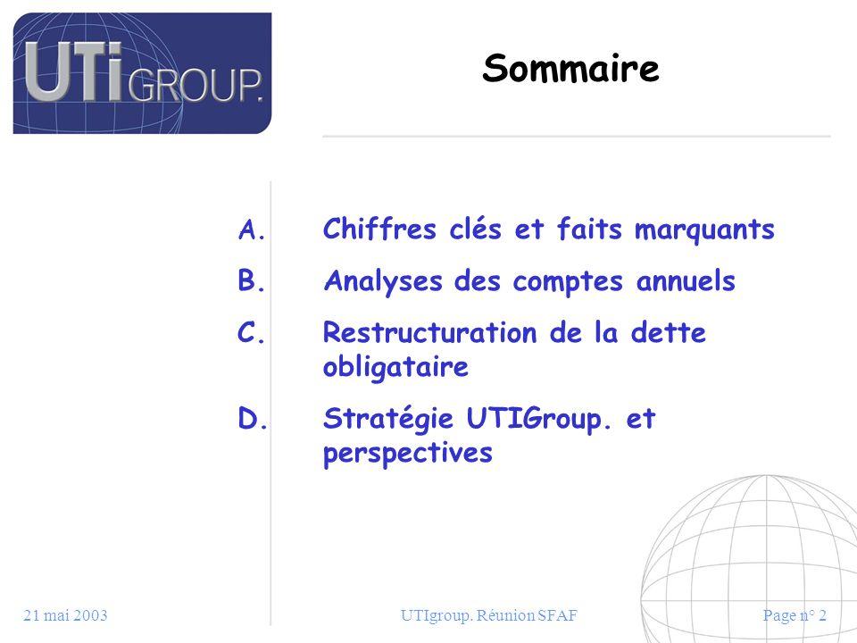 21 mai 2003UTIgroup. Réunion SFAFPage n° 2 Sommaire A. Chiffres clés et faits marquants B. Analyses des comptes annuels C. Restructuration de la dette