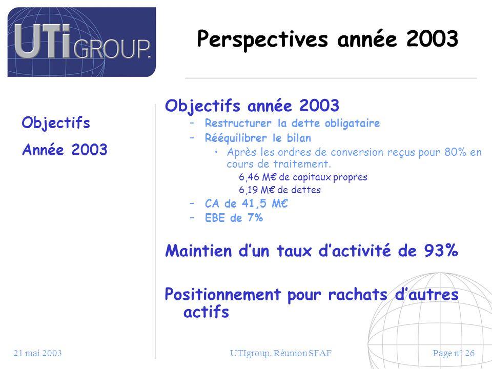 21 mai 2003UTIgroup. Réunion SFAFPage n° 26 Perspectives année 2003 Objectifs année 2003 –Restructurer la dette obligataire –Rééquilibrer le bilan Apr