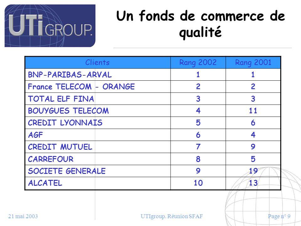 21 mai 2003UTIgroup. Réunion SFAFPage n° 9 Un fonds de commerce de qualité ClientsRang 2002Rang 2001 BNP-PARIBAS-ARVAL11 France TELECOM - ORANGE22 TOT