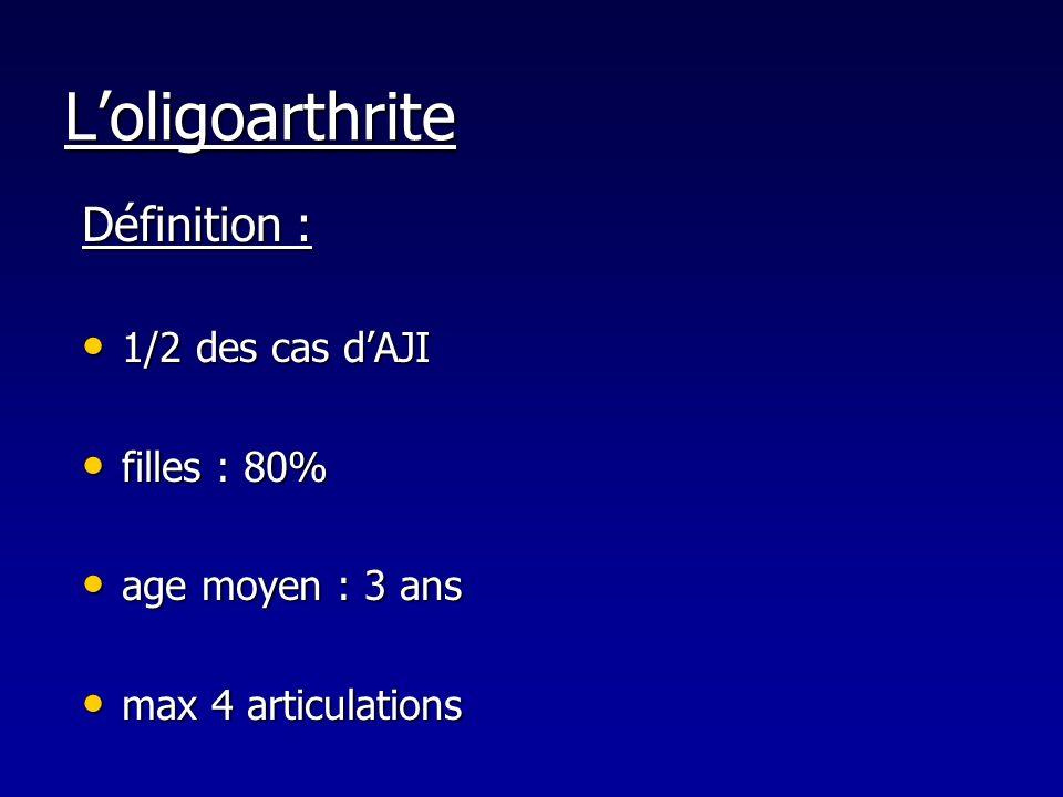 Loligoarthrite Définition : 1/2 des cas dAJI 1/2 des cas dAJI filles : 80% filles : 80% age moyen : 3 ans age moyen : 3 ans max 4 articulations max 4