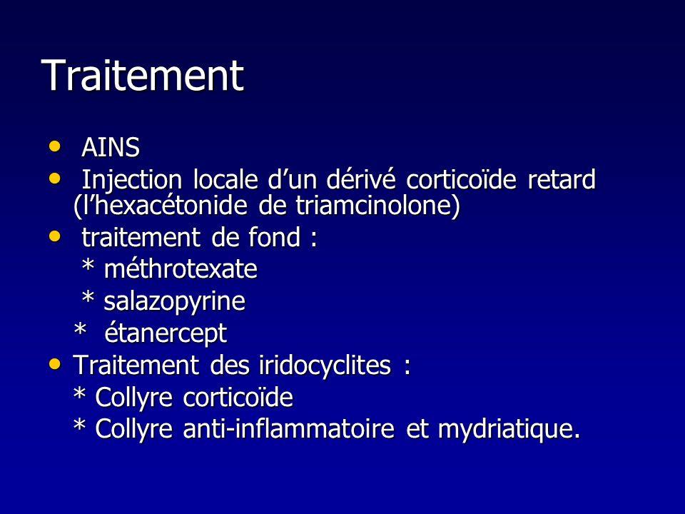 Traitement AINS AINS Injection locale dun dérivé corticoïde retard (lhexacétonide de triamcinolone) Injection locale dun dérivé corticoïde retard (lhe