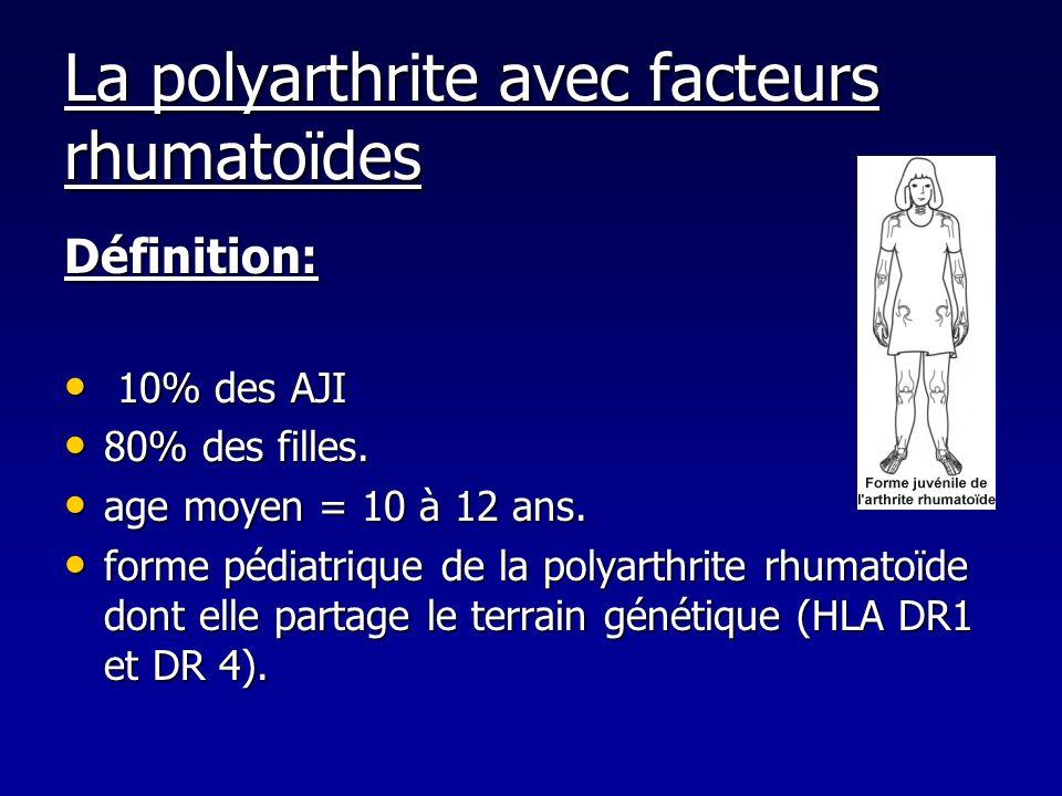 La polyarthrite avec facteurs rhumatoïdes Définition: 10% des AJI 10% des AJI 80% des filles. 80% des filles. age moyen = 10 à 12 ans. age moyen = 10