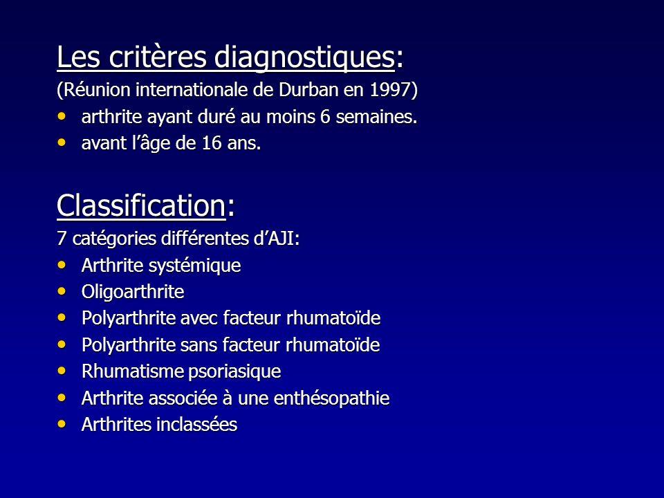 Les critères diagnostiques: (Réunion internationale de Durban en 1997) arthrite ayant duré au moins 6 semaines. arthrite ayant duré au moins 6 semaine