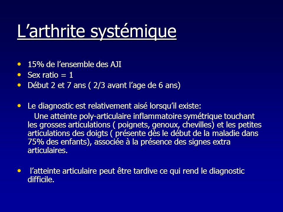 Larthrite systémique 15% de lensemble des AJI 15% de lensemble des AJI Sex ratio = 1 Sex ratio = 1 Début 2 et 7 ans ( 2/3 avant lage de 6 ans) Début 2