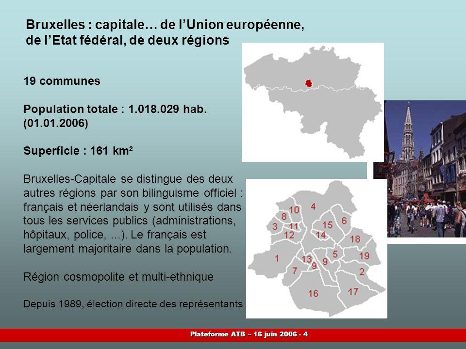 Plateforme ATB – 16 juin 2006 - 4 Bruxelles : capitale… de lUnion européenne, de lEtat fédéral, de deux régions 19 communes Population totale : 1.018.029 hab.