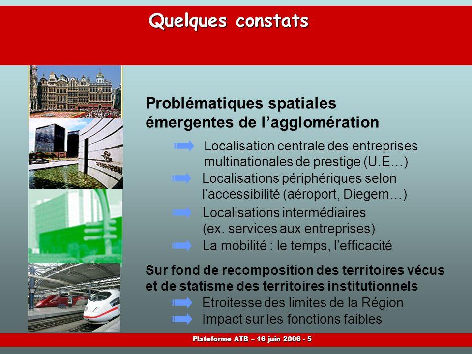 Plateforme ATB – 16 juin 2006 - 5 Quelques constats Localisation centrale des entreprises multinationales de prestige (U.E…) Localisations périphériques selon laccessibilité (aéroport, Diegem…) Localisations intermédiaires (ex.