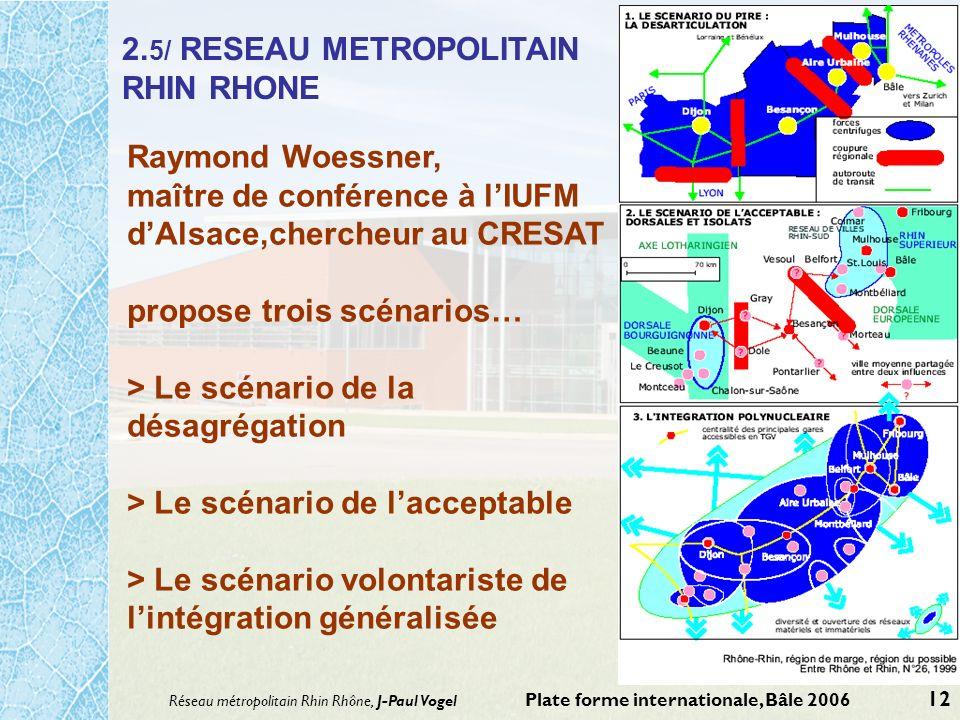 Réseau métropolitain Rhin Rhône, J-Paul Vogel Plate forme internationale, Bâle 2006 12 2. 5/ RESEAU METROPOLITAIN RHIN RHONE Raymond Woessner, maître