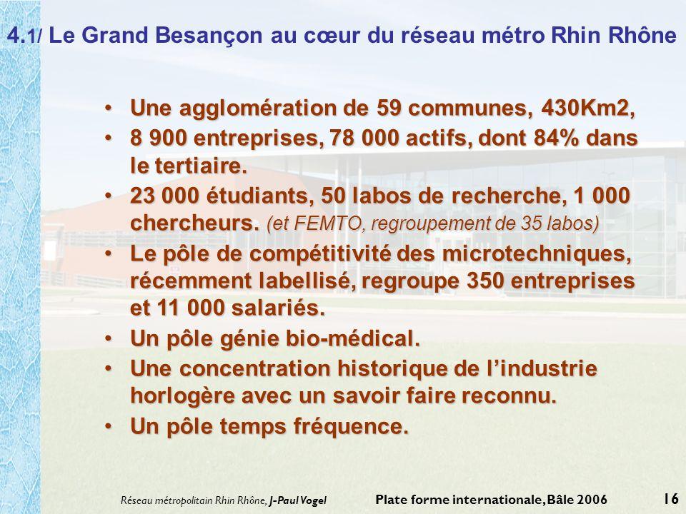 Réseau métropolitain Rhin Rhône, J-Paul Vogel Plate forme internationale, Bâle 2006 16 4. 1/ Le Grand Besançon au cœur du réseau métro Rhin Rhône Une