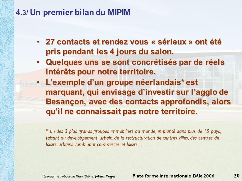 Réseau métropolitain Rhin Rhône, J-Paul Vogel Plate forme internationale, Bâle 2006 20 4.3/ Un premier bilan du MIPIM 27 contacts et rendez vous « sér