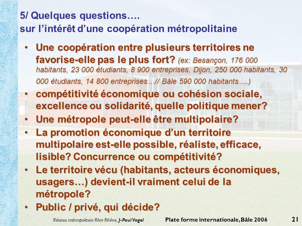 Réseau métropolitain Rhin Rhône, J-Paul Vogel Plate forme internationale, Bâle 2006 21 5/ Quelques questions…. sur lintérêt dune coopération métropoli