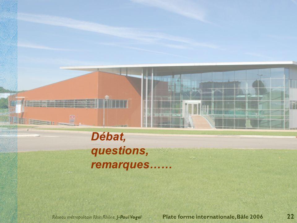 Réseau métropolitain Rhin Rhône, J-Paul Vogel Plate forme internationale, Bâle 2006 22 Débat, questions, remarques……