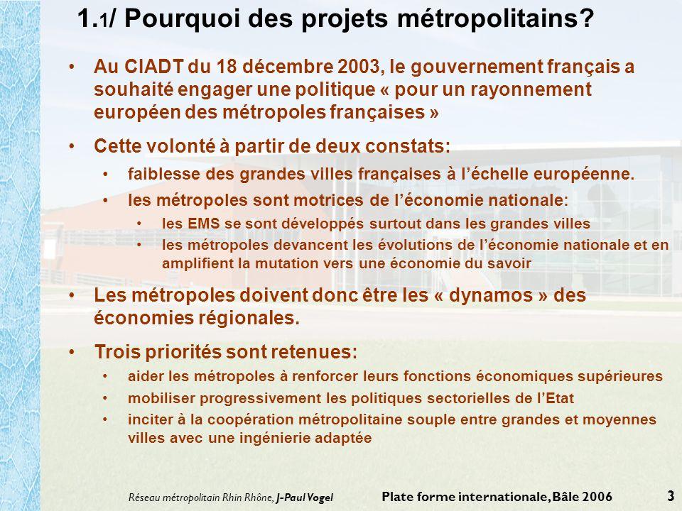 Réseau métropolitain Rhin Rhône, J-Paul Vogel Plate forme internationale, Bâle 2006 3 1. 1 / Pourquoi des projets métropolitains? Au CIADT du 18 décem