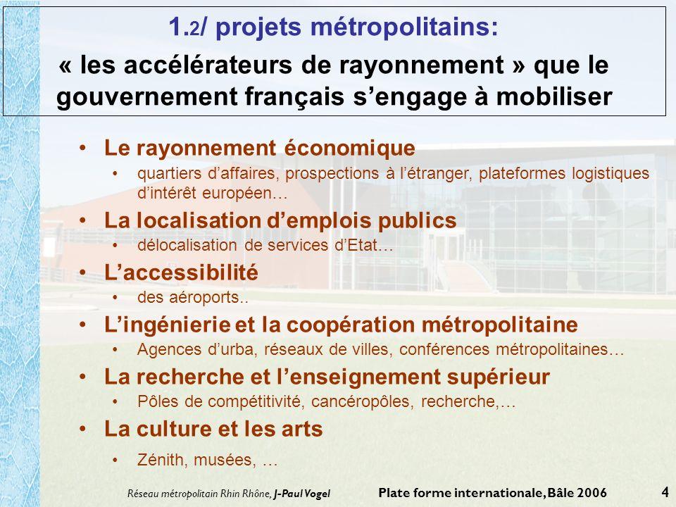 Réseau métropolitain Rhin Rhône, J-Paul Vogel Plate forme internationale, Bâle 2006 4 1. 2 / projets métropolitains: « les accélérateurs de rayonnemen