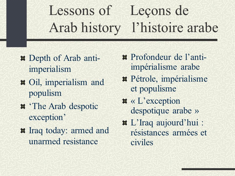 Lessons of Leçons de Arab history lhistoire arabe Depth of Arab anti- imperialism Oil, imperialism and populism The Arab despotic exception Iraq today