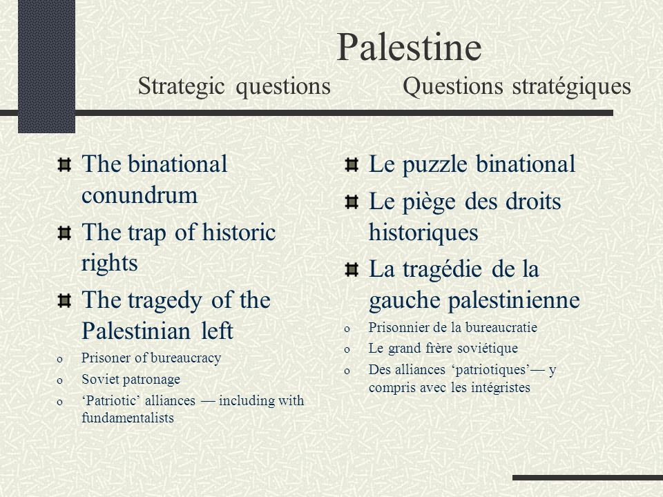 Palestine Strategic questionsQuestions stratégiques The binational conundrum The trap of historic rights The tragedy of the Palestinian left o Prisone