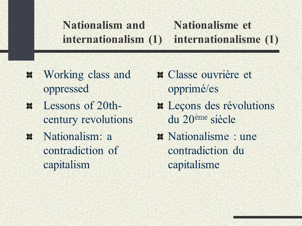 Nationalism and Nationalisme et internationalism (1) internationalisme (1) Working class and oppressed Lessons of 20th- century revolutions Nationalis