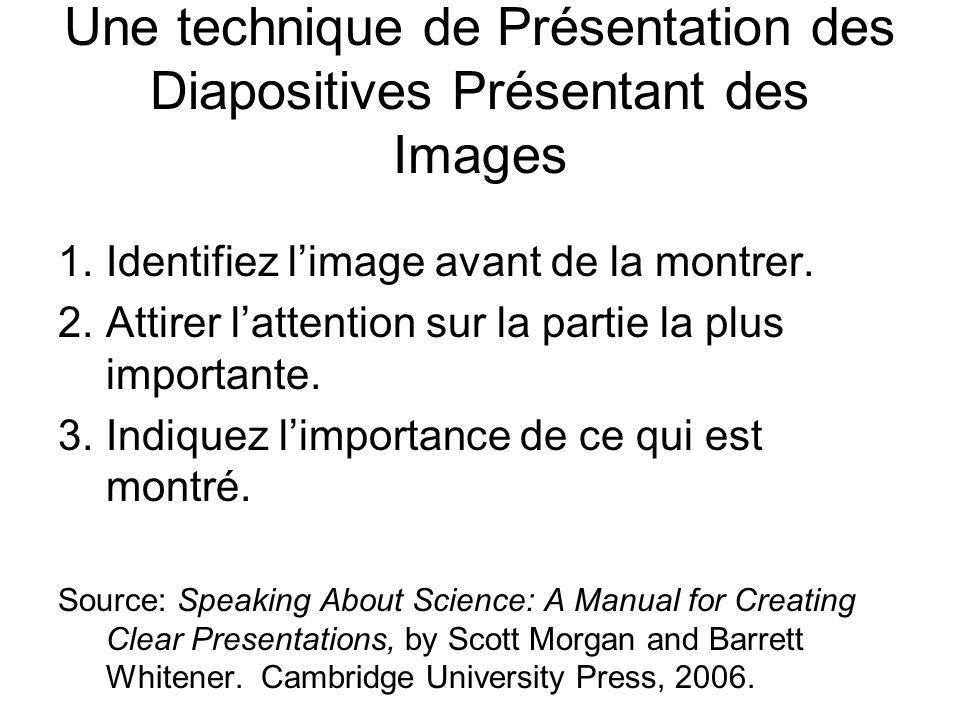Une technique de Présentation des Diapositives Présentant des Images 1.Identifiez limage avant de la montrer.
