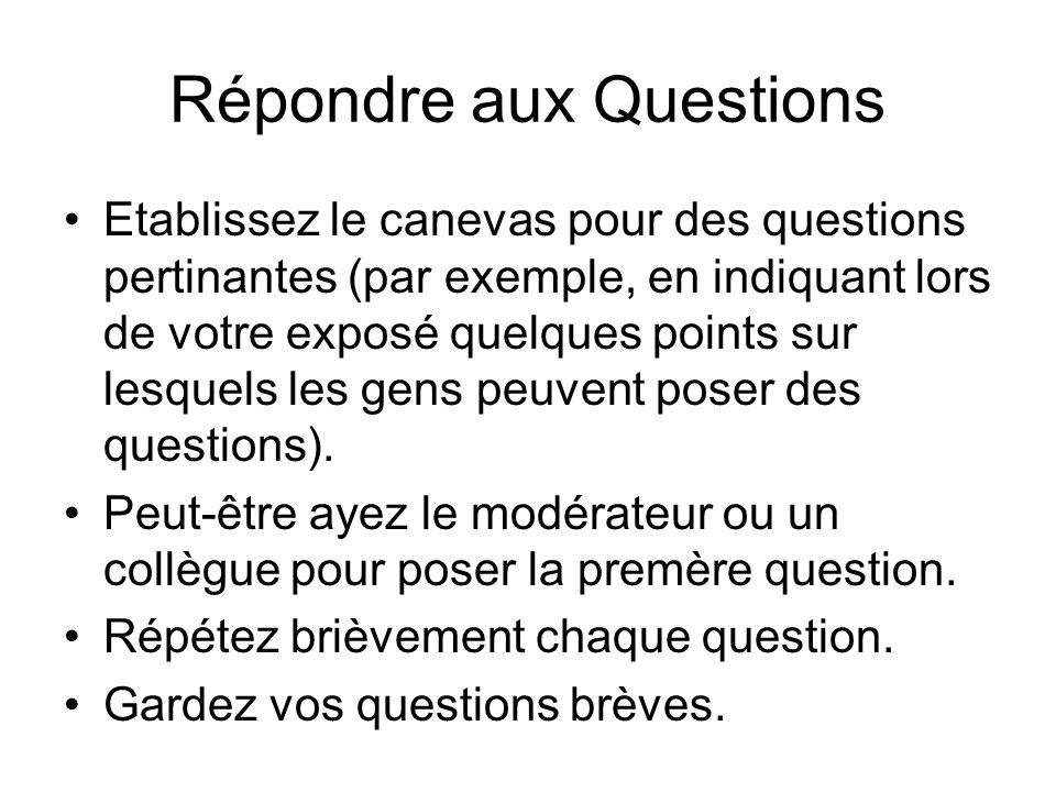 Répondre aux Questions Etablissez le canevas pour des questions pertinantes (par exemple, en indiquant lors de votre exposé quelques points sur lesquels les gens peuvent poser des questions).