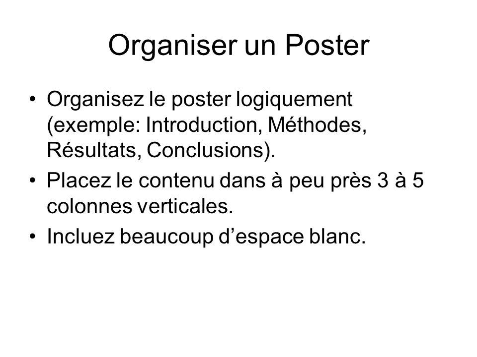 Organiser un Poster Organisez le poster logiquement (exemple: Introduction, Méthodes, Résultats, Conclusions).
