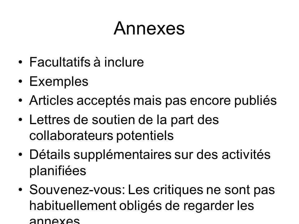 Annexes Facultatifs à inclure Exemples Articles acceptés mais pas encore publiés Lettres de soutien de la part des collaborateurs potentiels Détails s