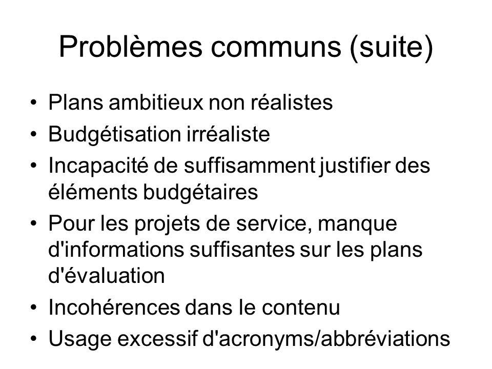 Problèmes communs (suite) Plans ambitieux non réalistes Budgétisation irréaliste Incapacité de suffisamment justifier des éléments budgétaires Pour le