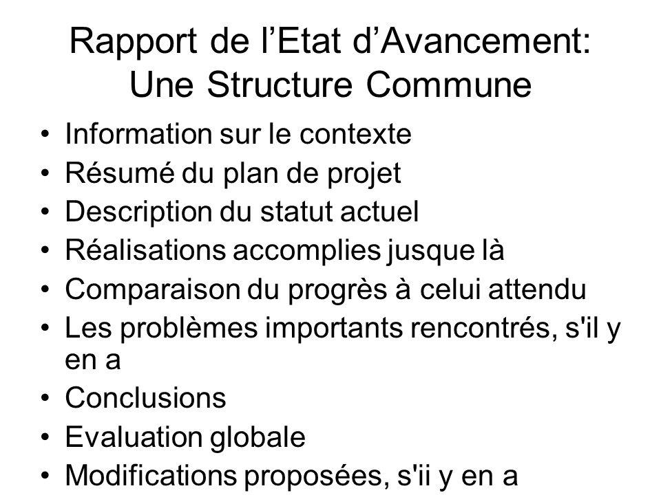 Rapport de lEtat dAvancement: Une Structure Commune Information sur le contexte Résumé du plan de projet Description du statut actuel Réalisations acc