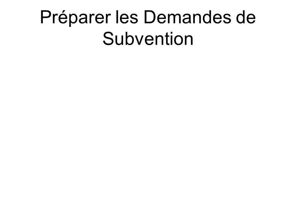 Préparer les Demandes de Subvention
