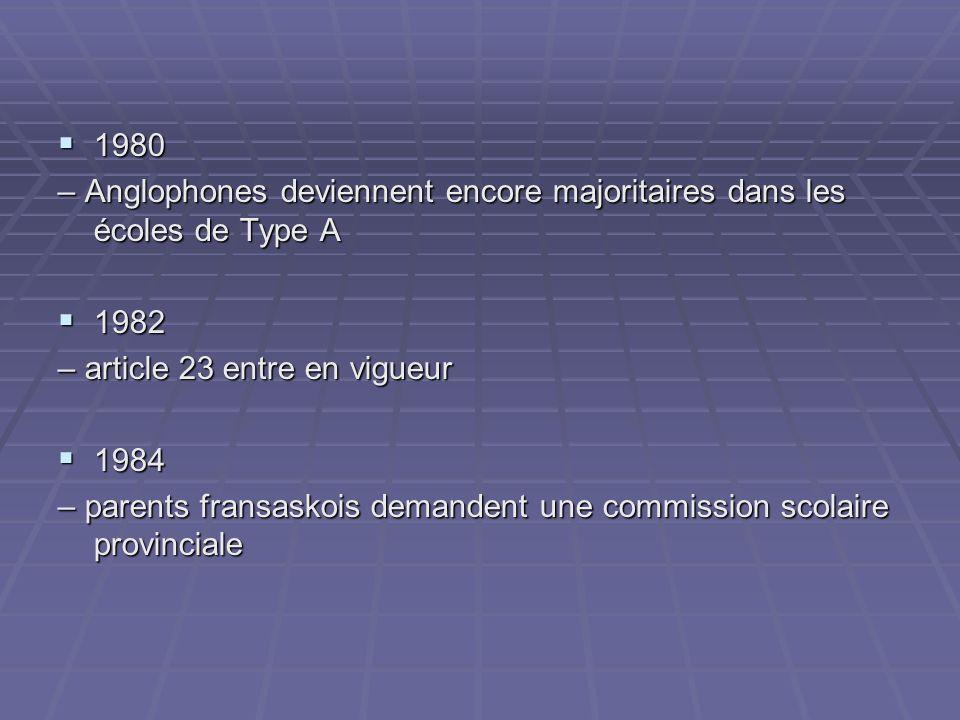 1980 1980 – Anglophones deviennent encore majoritaires dans les écoles de Type A 1982 1982 – article 23 entre en vigueur 1984 1984 – parents fransaskois demandent une commission scolaire provinciale