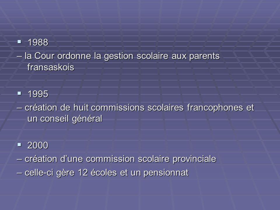 1988 1988 – la Cour ordonne la gestion scolaire aux parents fransaskois 1995 1995 – création de huit commissions scolaires francophones et un conseil général 2000 2000 – création dune commission scolaire provinciale – celle-ci gère 12 écoles et un pensionnat
