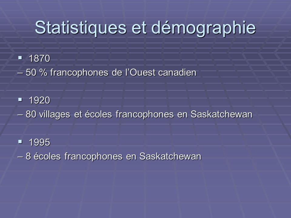 Statistiques et démographie 1870 1870 – 50 % francophones de lOuest canadien 1920 1920 – 80 villages et écoles francophones en Saskatchewan 1995 1995 – 8 écoles francophones en Saskatchewan