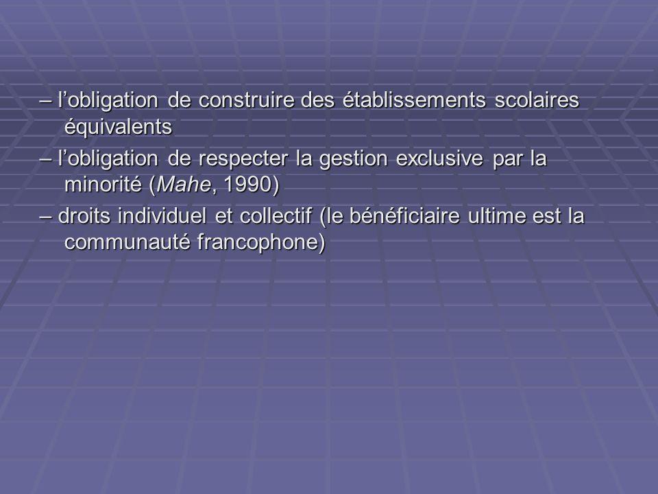 – lobligation de construire des établissements scolaires équivalents – lobligation de respecter la gestion exclusive par la minorité (Mahe, 1990) – droits individuel et collectif (le bénéficiaire ultime est la communauté francophone)